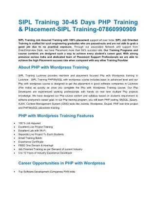 PHP with WordPress Training Centre in Lucknow-PHP with WordPress training for b.tech in lucknow-best