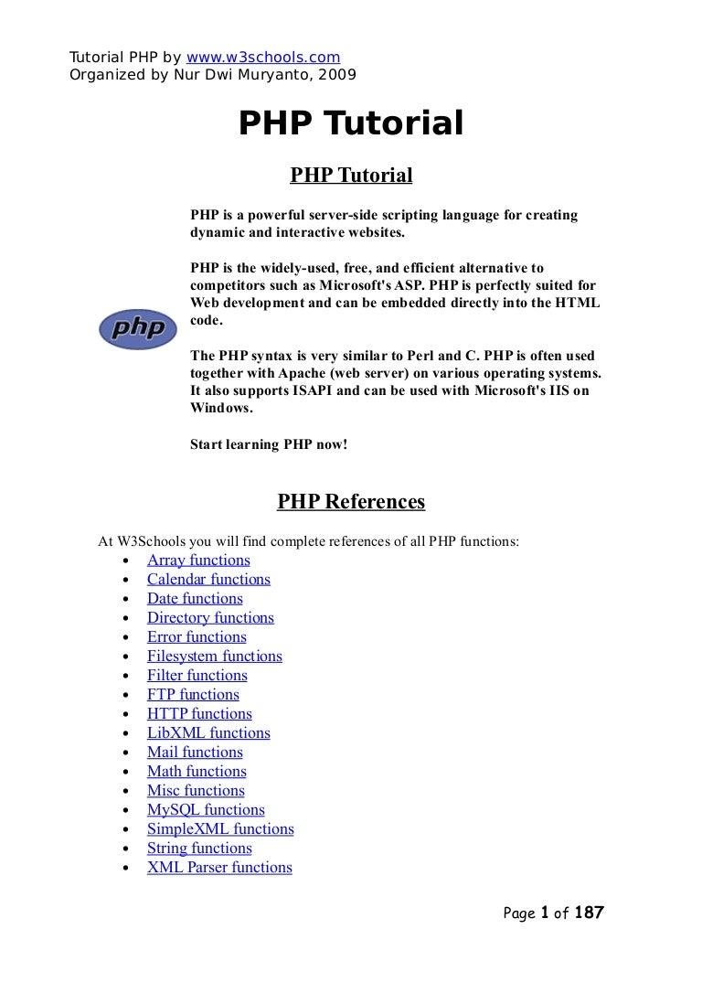 Php tutorialw3schools