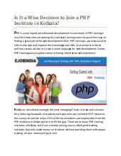 Php institute in kolkata