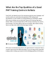 Php training centre in kolkata