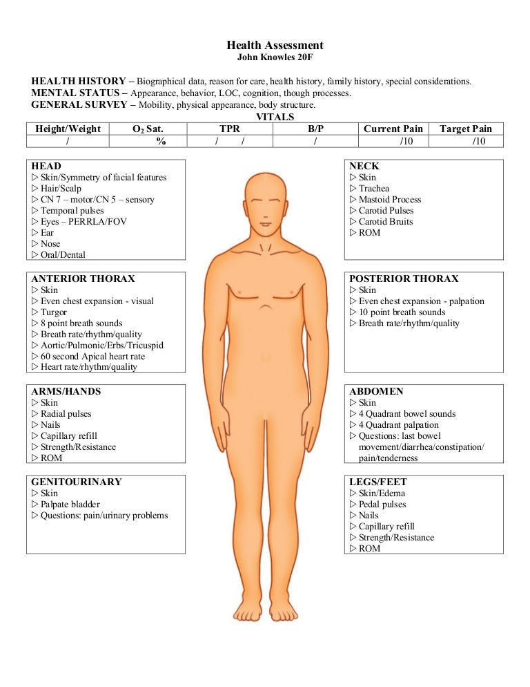 Physical Assessment Form