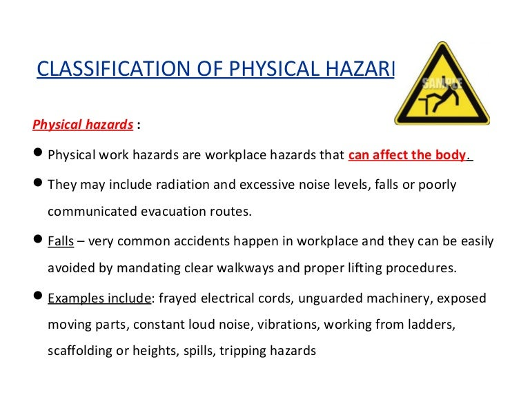Laboratory hazards: chemical, physical & biological hazards in the lab.