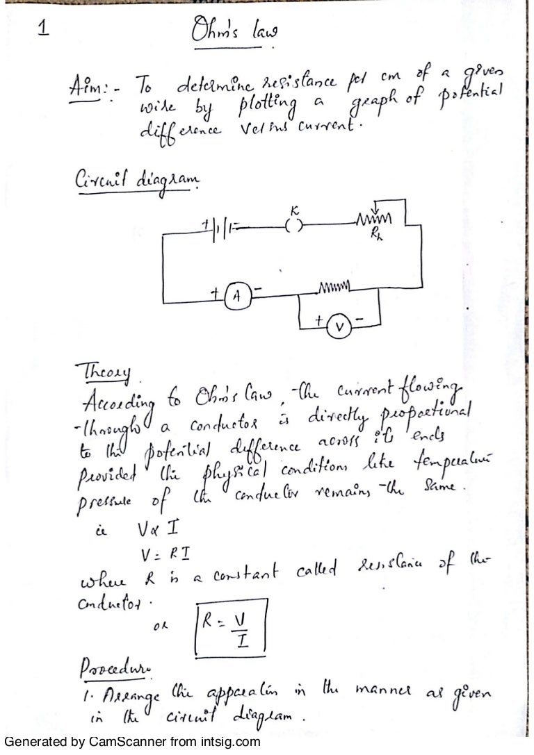 Physics Practical Notes Class 12 CBSE Final