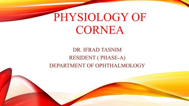Physiology of cornea