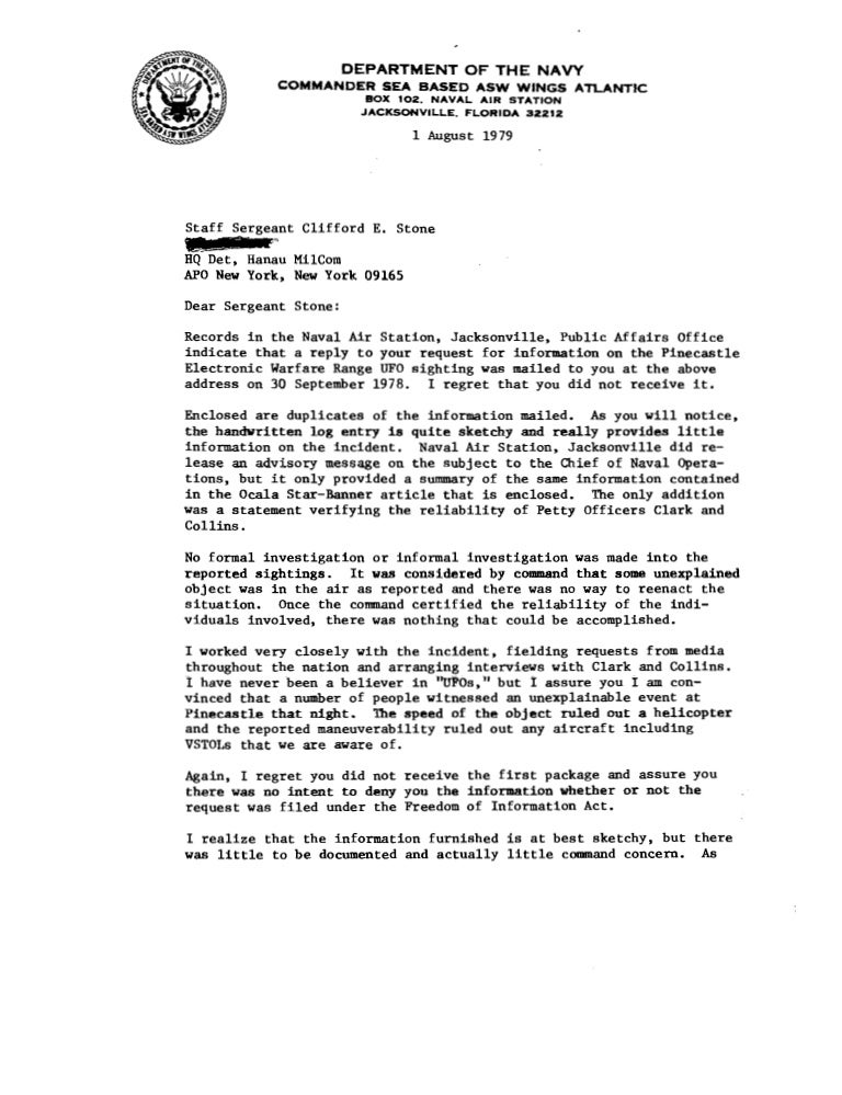 army character letter examples pinecastle 1978