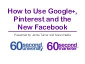 Pinterest, Google+ and Facebook Tips and Techniques