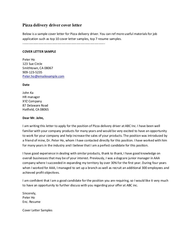 Sample Cover Letter For Delivery Driver Professional Delivery Driver ...