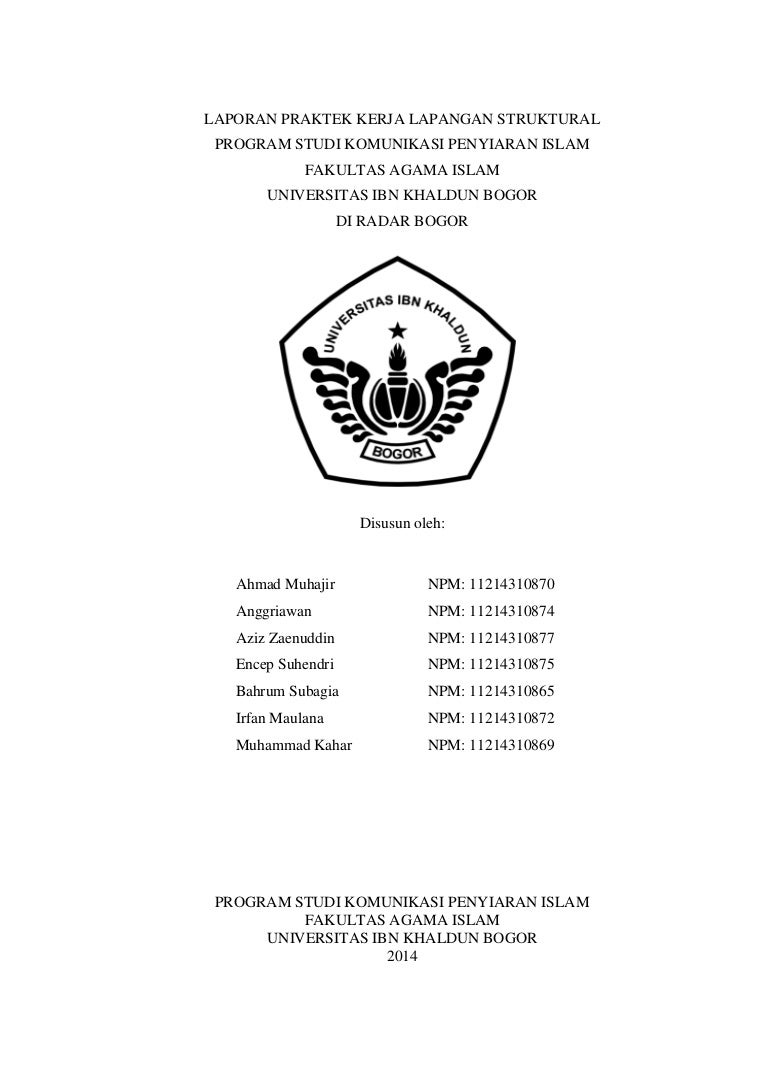 Laporan Praktek Kerja Lapangan Kpi Uika 2014