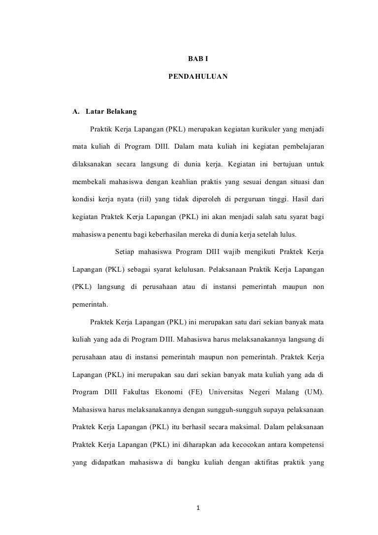 Contoh Latar Belakang Laporan Pkl Akuntansi Kumpulan Contoh Laporan