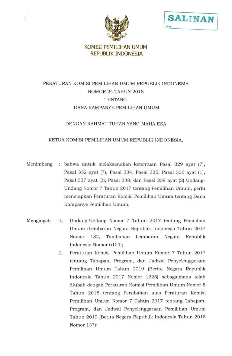Laporan Awal Dana Kampanye Pasangan Calon Gubernur Dan Wakil Gubernur Jawa Tengah 2018 Kpu Provinsi Jawa Tengah