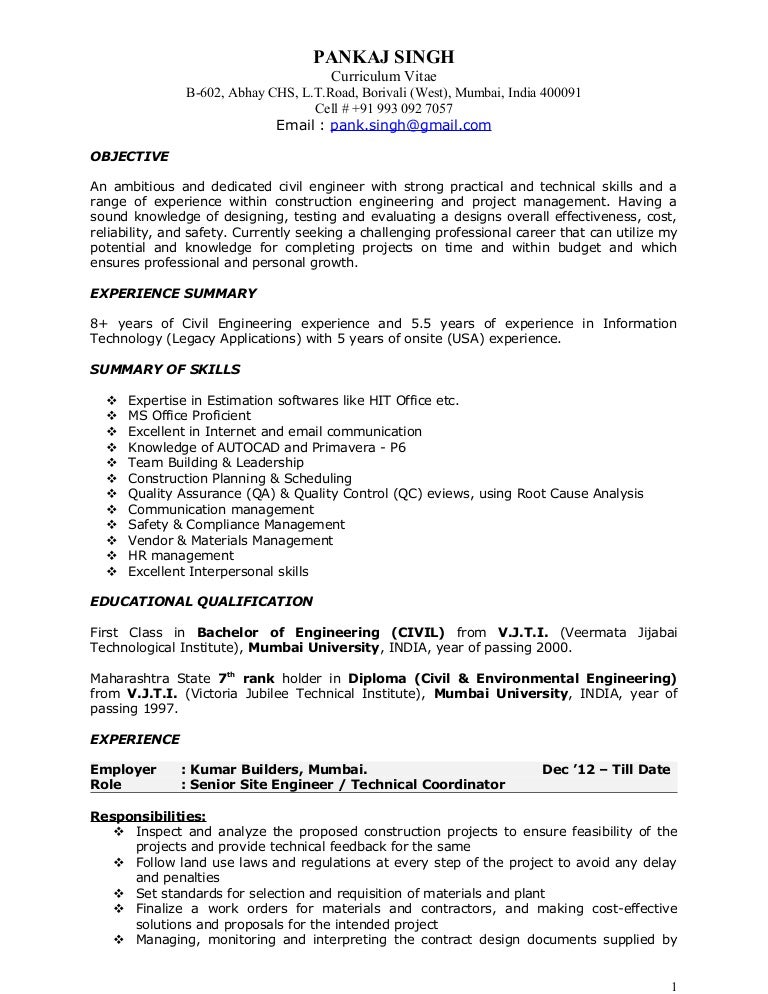 Construction Resume. Project Manager Construction Resume Project ...