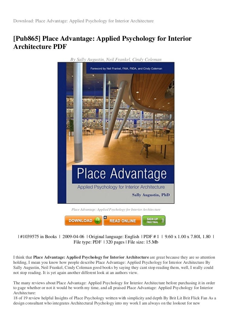 Review Place Advantage Applied Psychology For Interior Architecture P
