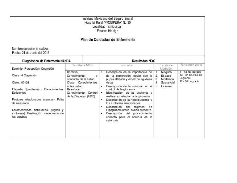 Plan de Cuidados de Enfermería: Diabetes Mellitus (Primer