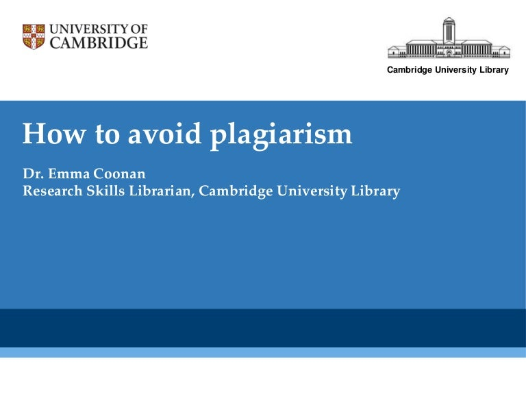 Avoiding Plagiarism   A guide for students at UCT