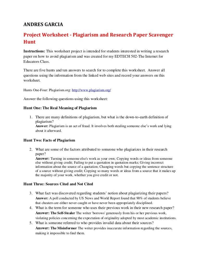 Plagiarism scavenger hunt – Avoiding Plagiarism Worksheet