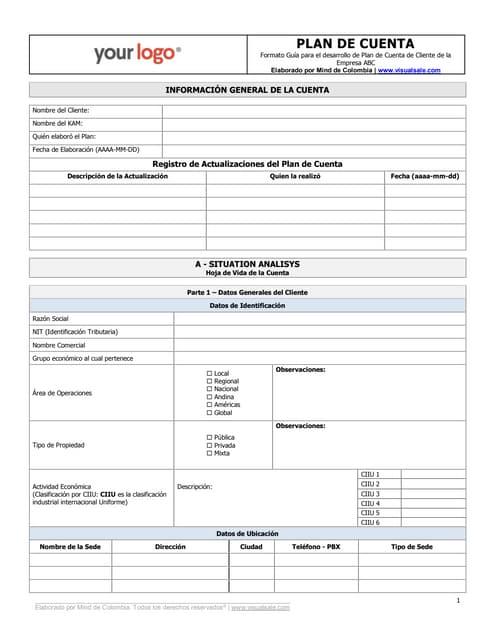Plantilla de Plan de Cuenta KAM (Key Account management)