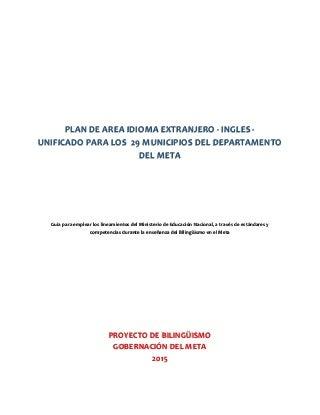 Plan de área idioma extranjero ingles - unificado para los 29 municipios del departamento