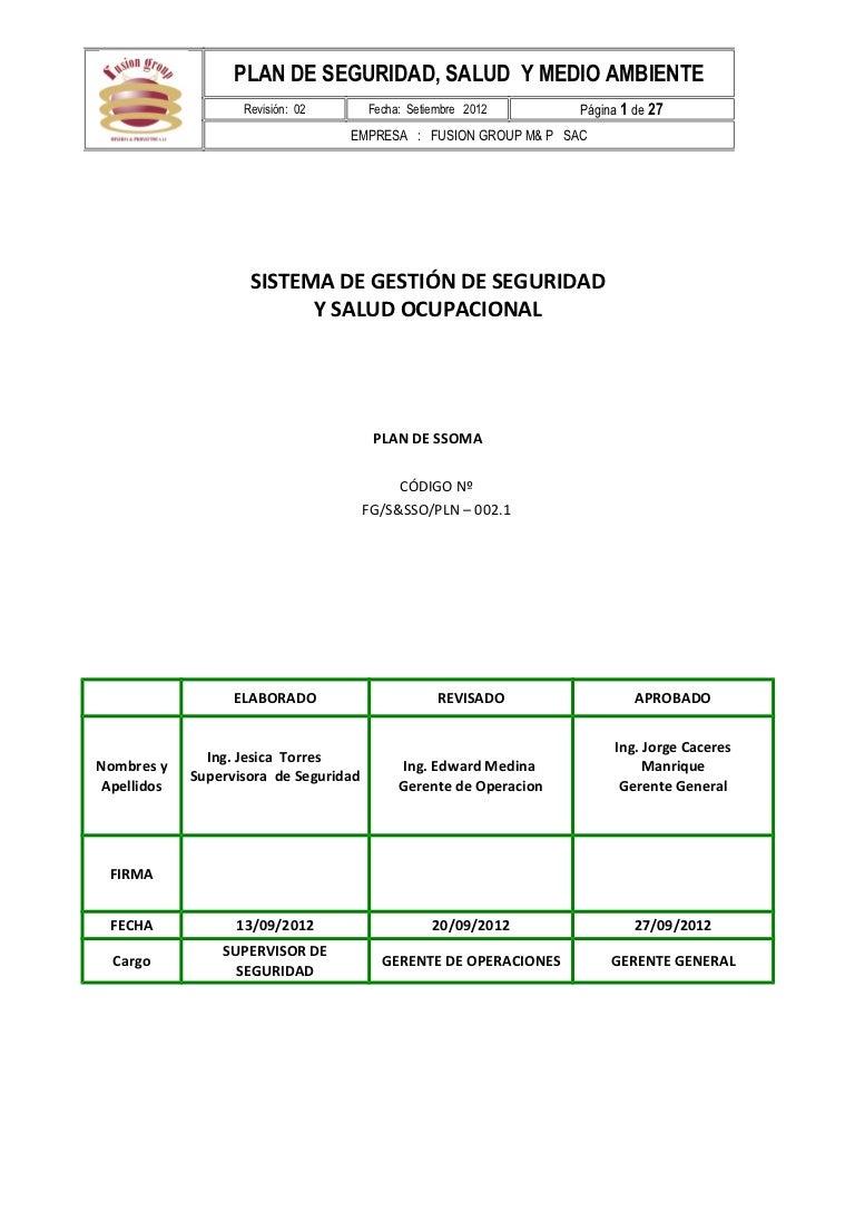 Plan de seguridad y salud en el trabajo fusion group m&p sac
