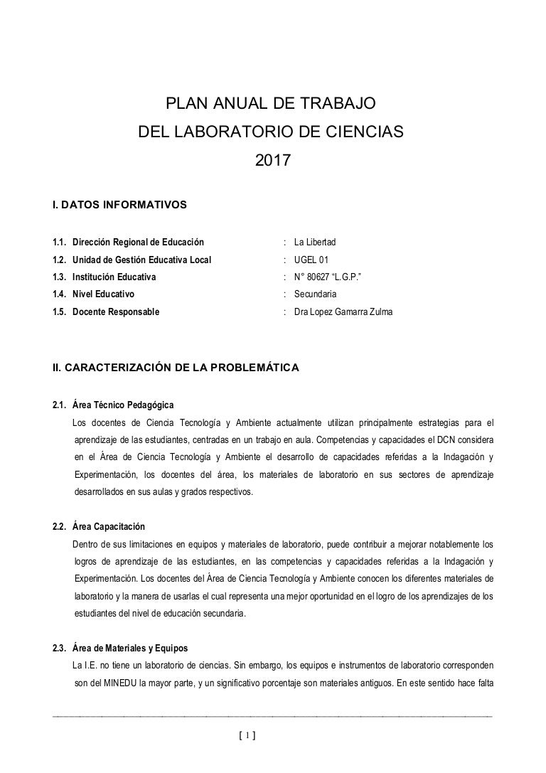 Plan de trabajo de laboratorio de ciencias 2017