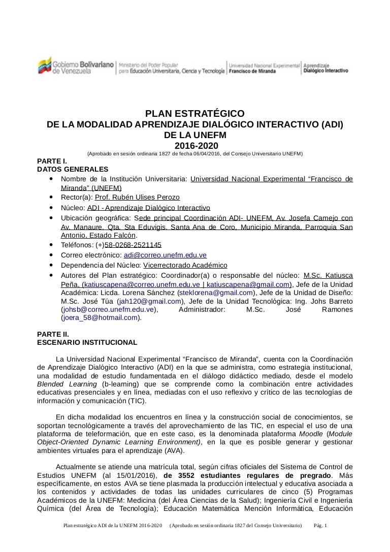 Plan Estratégico ADI-UNEFM 2016-2020