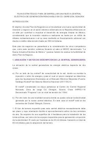 PLAN ESTRATÉGICO PARA DESARROLLAR UNA NUEVA CENTRAL ELÉCTRICA DE GENERACIÓN RENOVABLE EN CD. OBREGÓN, SON.