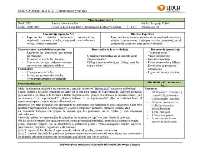 Planificación clase 1 - Supermercado (Morfosintaxis)