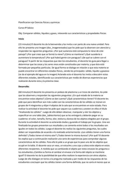 Planificacion eje ciencias fisicas y quimicas 4º basico