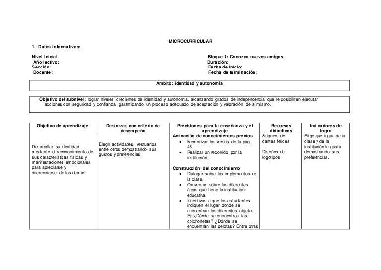 Planificacion inicial 1 for Planificacion de educacion inicial