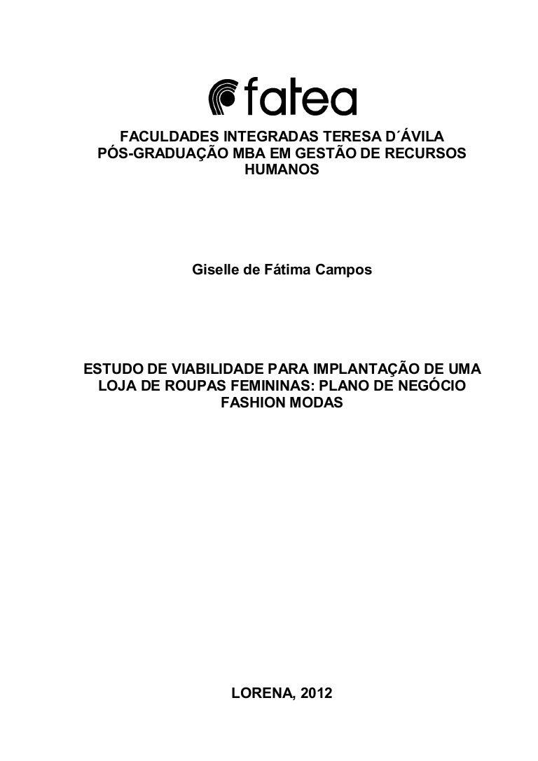 b7f339b3c ESTUDO DE VIABILIDADE PARA IMPLANTAÇÃO DE UMA LOJA DE ROUPAS FEMININA…