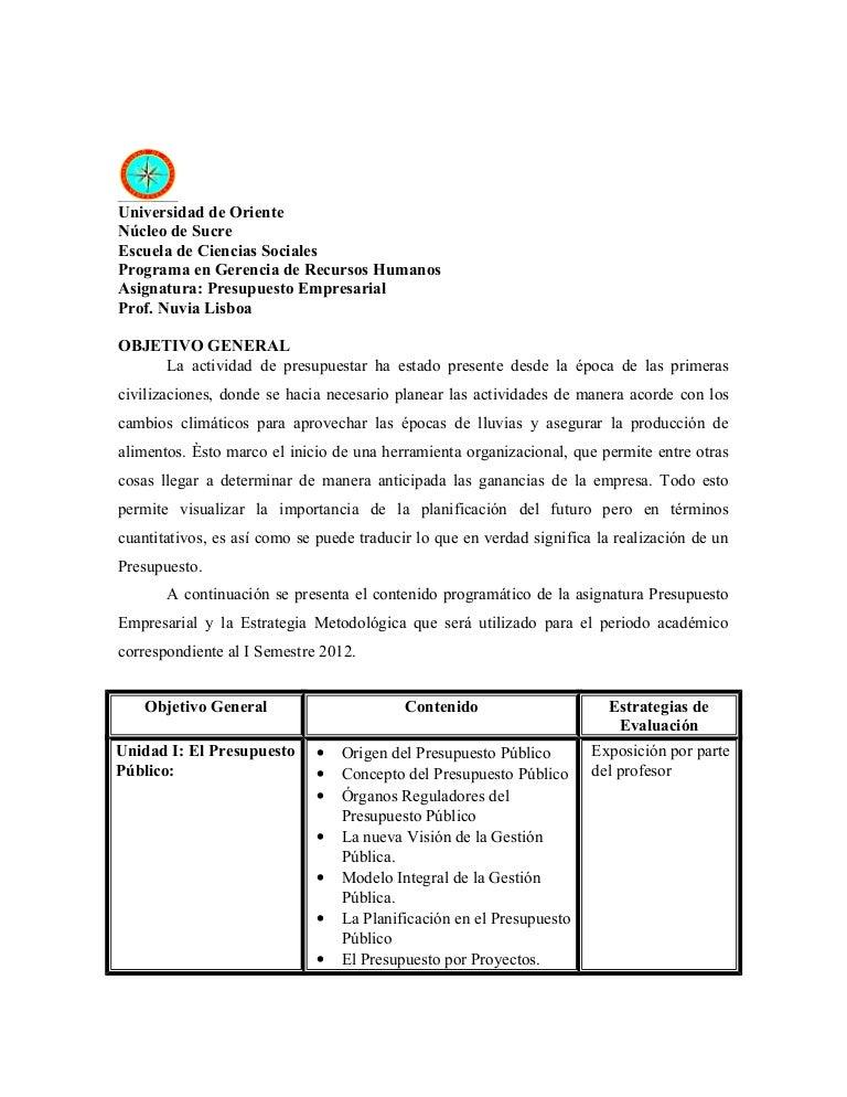 Plan semestral i sem 2012 presupuesto for Presupuestos de reformas