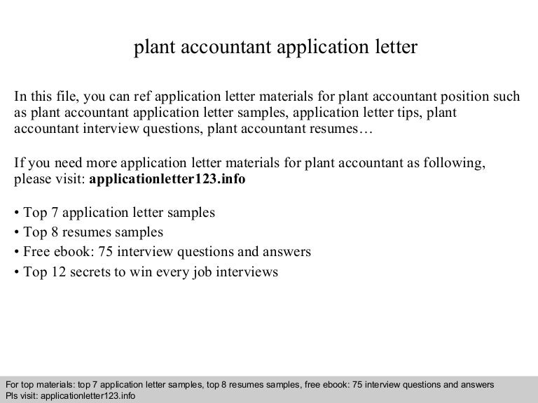 Plant accountant application letter