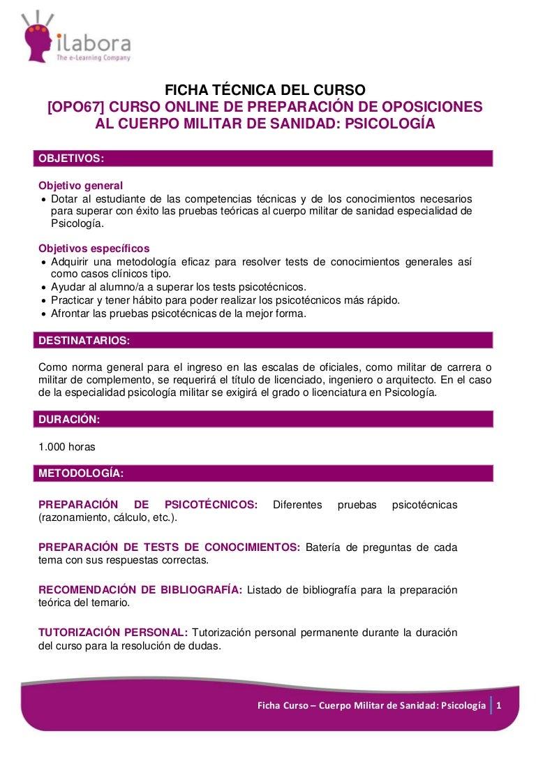 Curso Online de Preparación de Oposiciones al Cuerpo Militar de Sanid…