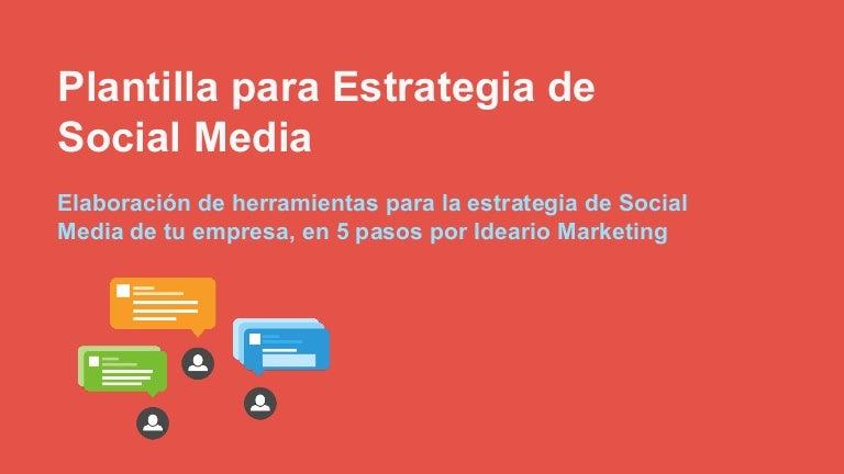 Plantilla planificación estrategia social media ideario