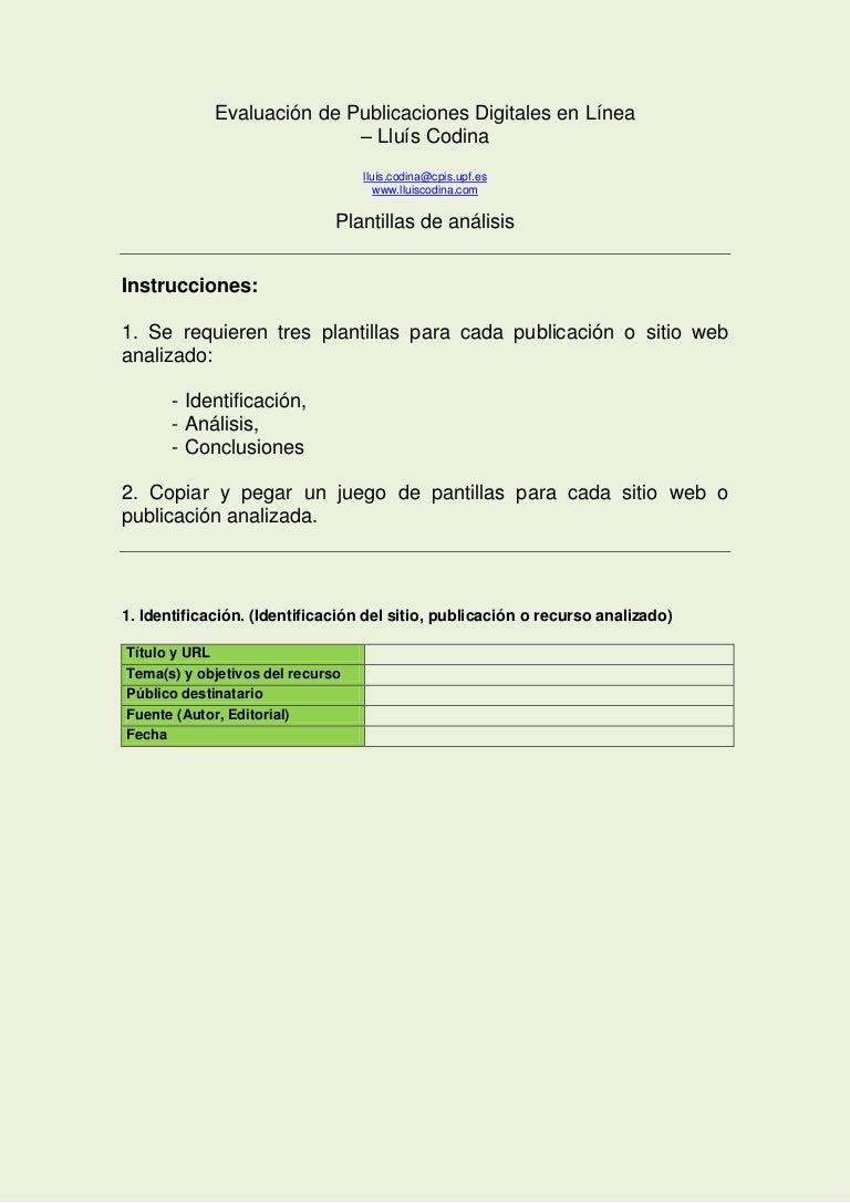 Plantilla de Análisis y evaluación de publicaciones digitales