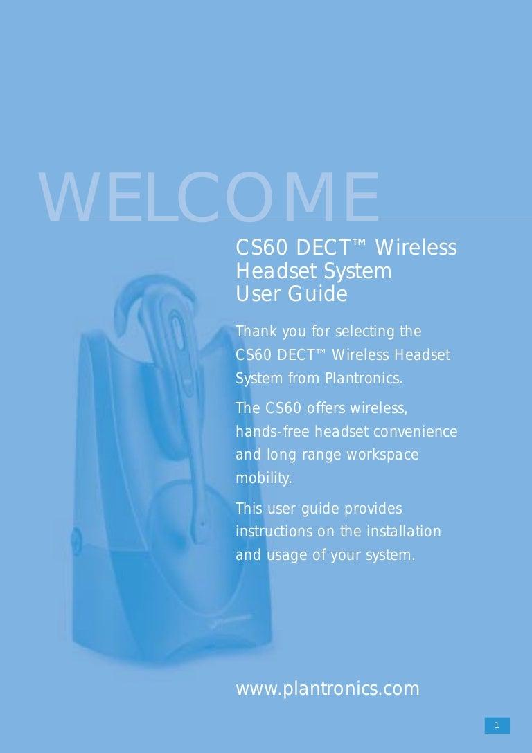 plantronics cs60 user guide rh slideshare net Plantronics Cordless Headset Manual Plantronics Headset Instruction Manual