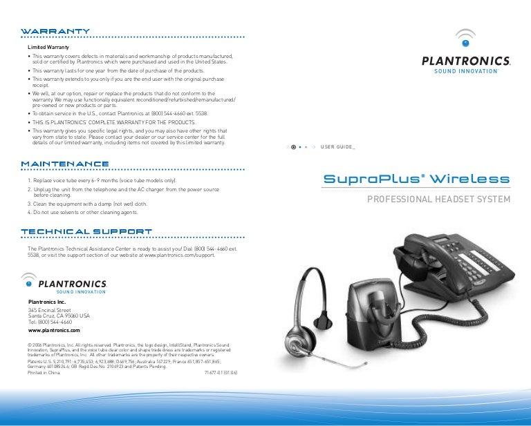 Plantronics Supraplus Wireless User Guide