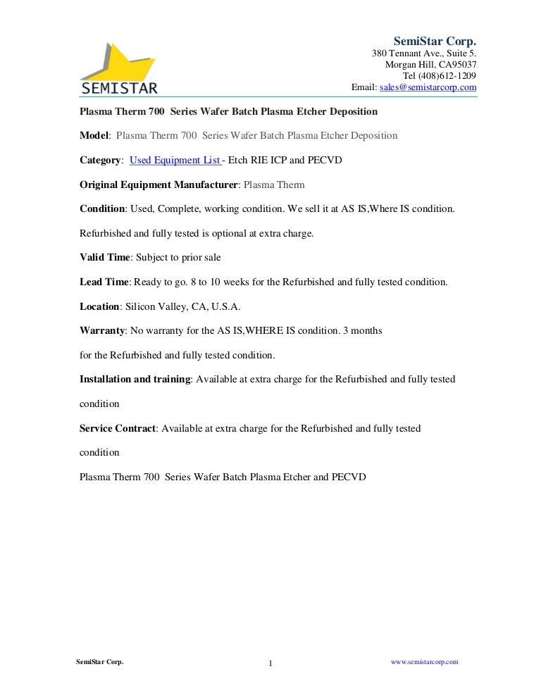 plasmatherm700serieswaferbatchplasmaetcherandpecvdsemiconductorprocessequipmentinstock 170219235227 thumbnail 4?cb=1487548411 plasma therm 700 series wafer batch plasma etcher and pecvd semicon  at edmiracle.co
