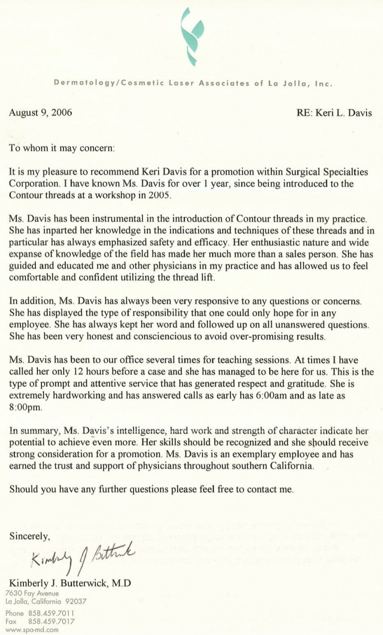 plastic surgeon letters of recommendation