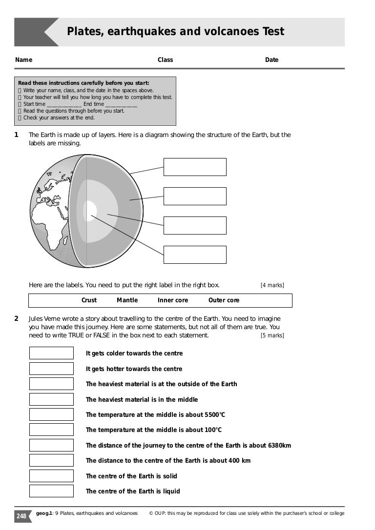 worksheet Volcanoes Worksheets plate tectonics test