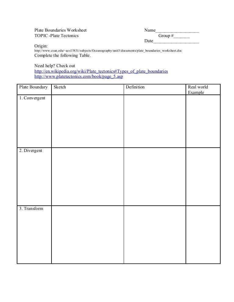 Plate Boundaries Worksheet