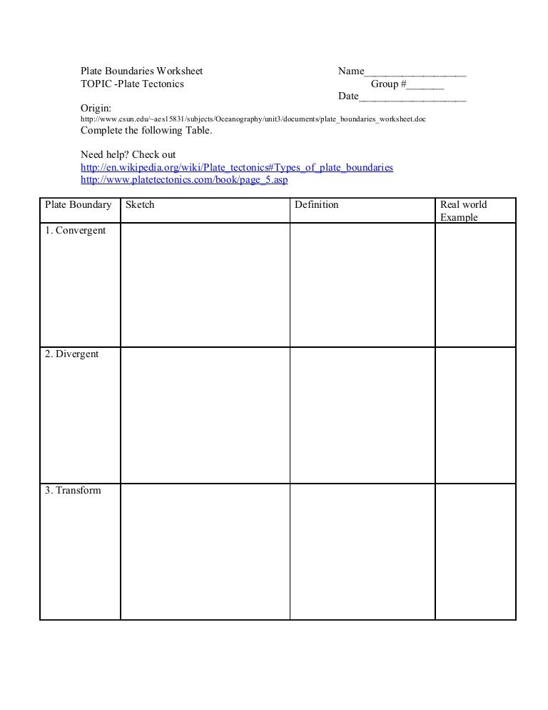 Plate Boundaries Worksheet – Tectonic Plates Worksheet