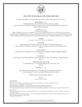 Platinum Wedding Package Dinner Menu by Lago Mar Country Club