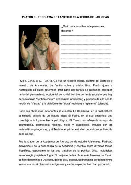 Platón el problema de la virtud y la teoria de las ideas sesión 4
