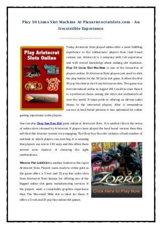 Play 50 Lions Slot Machine At Playaristocratslots.com
