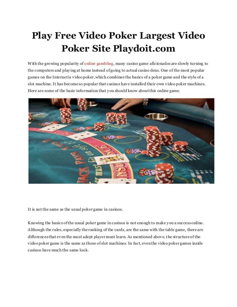 Play Free Video Poker Largest Video Poker Site Playdoit Com
