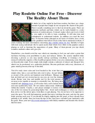 Play roulette online for free discover the reality about them