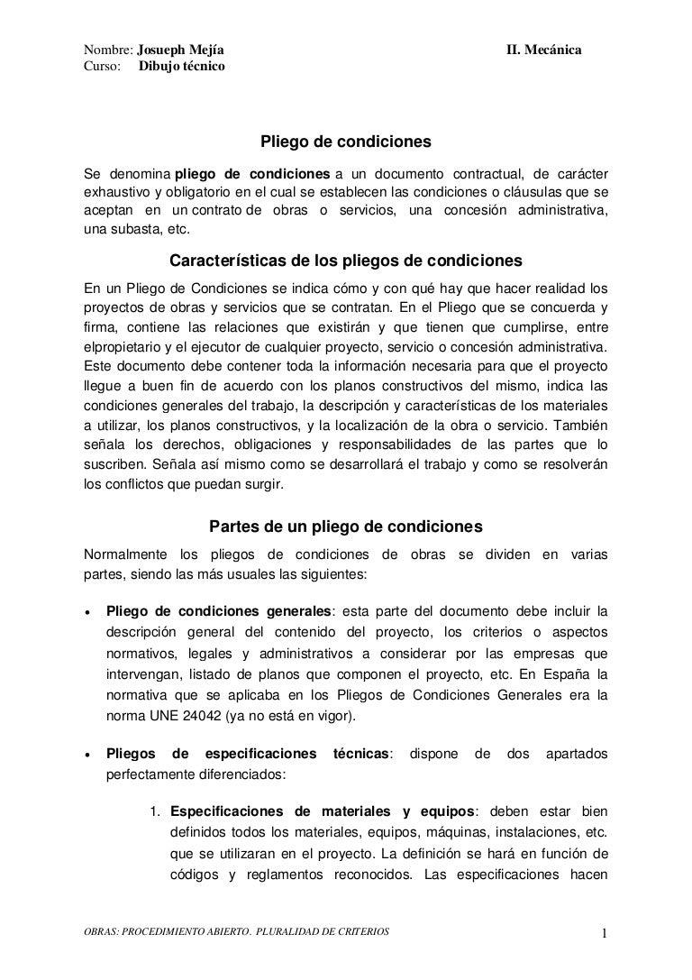 Pliego de condiciones dibujo tcnico josueph meja 30072014