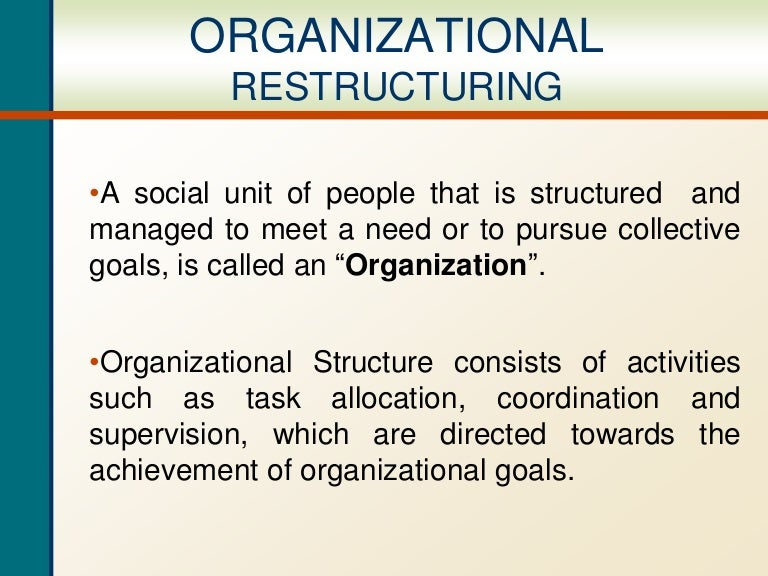Reorganization is a merger, affiliation, division, separation