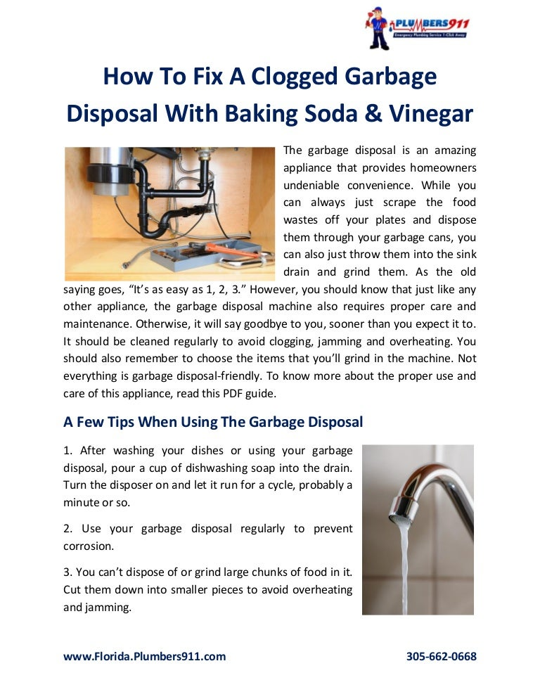 How To Fix A Clogged Garbage Disposal With Baking Soda & Vinegar