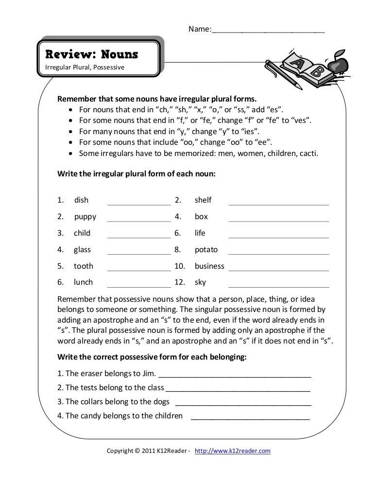 Singular And Plural Nouns Worksheets Pdf Worksheets for all ...